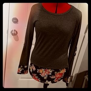 *Autumnal* Floral Elbow Patch Top